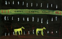 JOHN LURIE : GOAT GOAT GOAT, 2004, 30.5 x 45.4 cm, 12 x 17 7/8 in., watercolor, oil pastel on paper