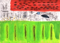 JOHN LURIE : NO FLY IN FIELD RULE, 2006, 25 x 36 cm, 9 7/8 x 13 3/4 in., watercolor, oil pastel, pencil on paper