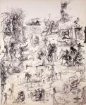 SALVADOR DALI : PROJETS DE RIDEAAUX DE SCÈNE ET ÈTUDES PRÈLIMINAIRES (PROJECTS FOR THEATER CURTAINS AND PRELIMINARY STUDIES), 1943, 51 x 41.5 cm, 20 x 16 3/8 in., pen and ink on paper